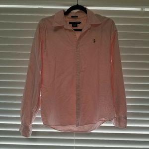 Ralph Lauren Striped pink button down shirt